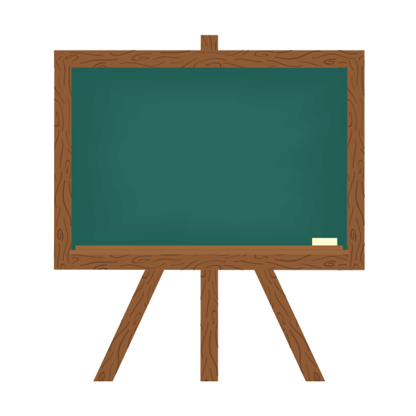 wooden chalkboard with a green background and a white piece of chalk